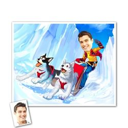 Husky Sledding Caricature Art Print