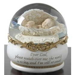 Baby in Angel Wings Musical Glitterdome Snowglobe