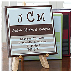 Personalized Baby Boy Announcement Canvas Wall Art