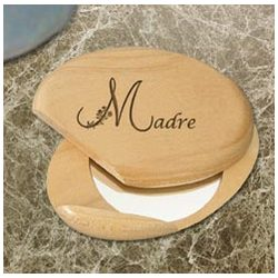 Personalized Spanish Motherly Treasure Wooden Compact Mirror