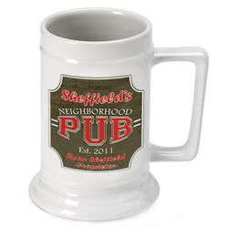 Personalized Beer Stein with Neighborhood Pub Image