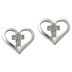 10K White Gold Diamond Heart and Cross Earrings