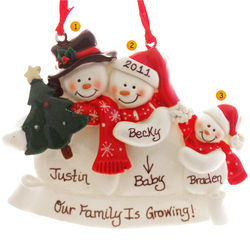 Snow Family 3 with Pregnant Mom Christmas Ornament