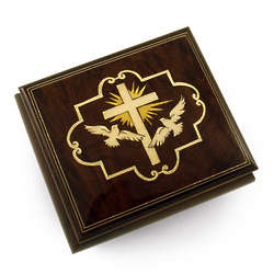 Cross and Dove Wood Musical Jewelry Box