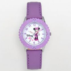 Minnie Mouse Time Teacher Stainless Steel Purple Kid's Watch