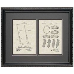 Hockey Stick and Puck 16x20 Framed Patent Art Print