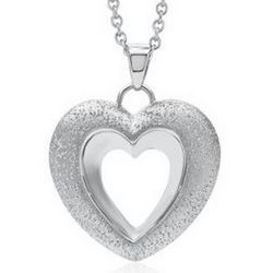 Sterling Silver Diamond Cut Open Heart Pendant