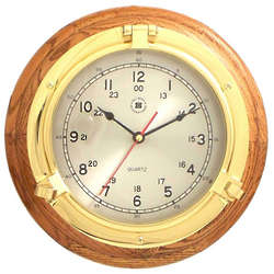 Brass Porthole Clock on Oak Base