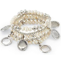 Mini Medallion Freshwater Pearl Stretch Bracelets