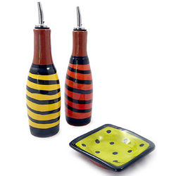 Multi-Color Handcrafted Terra Cotta Oil and Vinegar Set