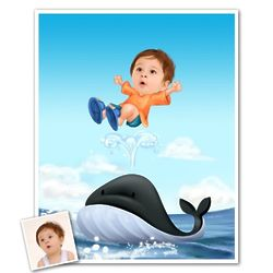 Play With Dolphin Caricature Art Print