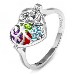 Round Birthstones in Sterling Silver Heart Locket Ring