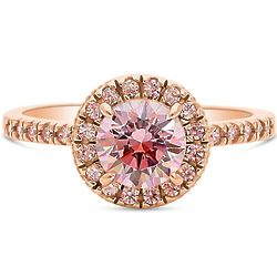 Rose Gold Plated Pink CZ Halo Engagement Ring
