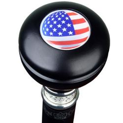 U.S.A. Flag Knobbed Walking Cane with Pewter Band