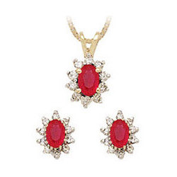 Oval Flower Ruby and Diamond Set