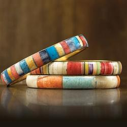 Hand-tooled Multicolored Faux Ivory Bangles