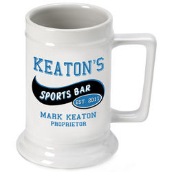 Personalized Beer Stein with Sports Bar Image
