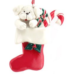 Personalized White Puppy in Stocking Resin Ornament