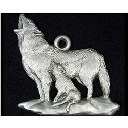Wolf in Pewter Wildlife Christmas Ornament