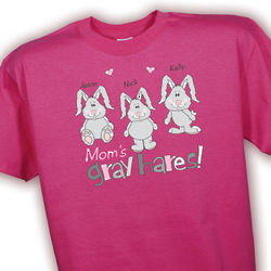 Gray Hares Personalized Hot Pink T-Shirt
