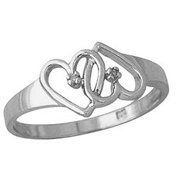 10K White Gold Dual Heart Diamond Ring