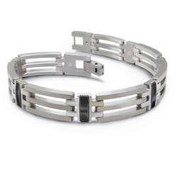 Titanium and Black Titanium Tri-Link Bracelet