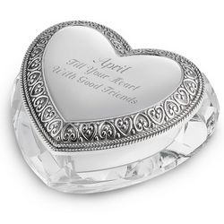Engraved Crystal Heart Jewelry Box