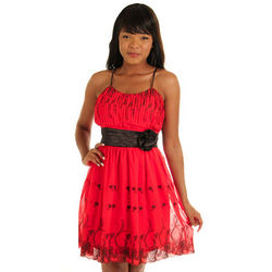 Red and Black Sweet Floral Empire Party Dress