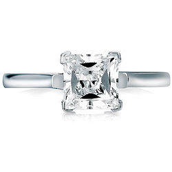 Sterling Silver Ring Cubic Zirconia Princess Solitaire Ring