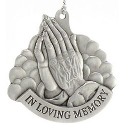 Personalized In Loving Memory Praying Hands Pewter Ornament