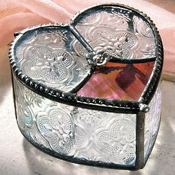 Rosette and Heart Glass Box