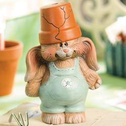 Flowerpot Bunny Boy Garden Statue