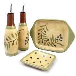 Olive Branch Handcrafted Terra Cotta Oil and Vinegar Set