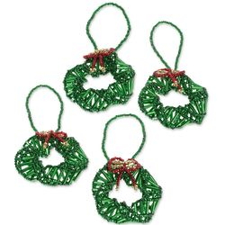 4 Wreaths in Green Glass Bead Ornaments
