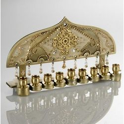 Traditional Hanukkah Menorah in Gold Brass