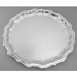 "Engravable 12"" Nickel Plated Chippendale Tray"