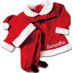 Personalized Baby Girl Santa Suit