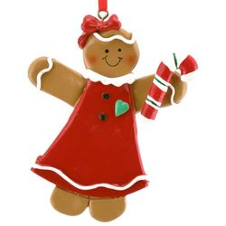 Personalized Gingerbread Girl Resin Christmas Ornament