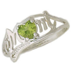 10K White Gold Peridot and Diamond Heart Shaped Mom Ring