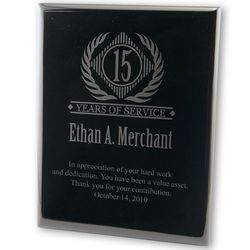 Years of Service Plaque in Black Acrylic