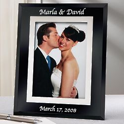 Personalized Vertical Black Glass Wedding Frame