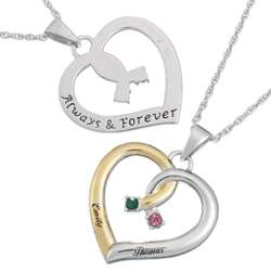 Two-Tone Couple's Name and Birthstone Heart Necklace
