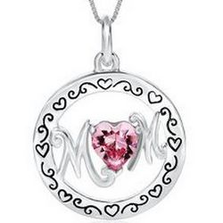 Sterling Silver Pink Crystal Heart Mom Pendant