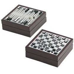Rosewood Mini Chess and Backgammon Game Set