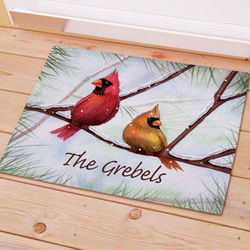 Personalized Cardinals Christmas Doormat