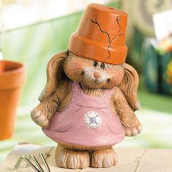 Flowerpot Bunny Girl Garden Statue