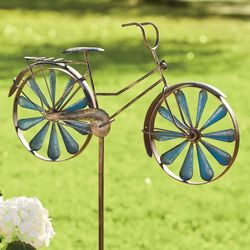 Metal Bicycle Wind Spinner Garden Stake