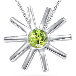Round Peridot Solitaire Star-Shaped Pendant in Silver