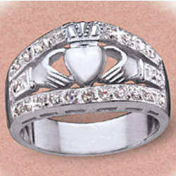 Women's Silver Claddagh CZ Cluster Ring