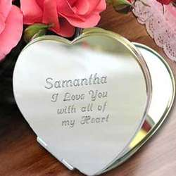 Personalized Heart Shaped Compact Mirror